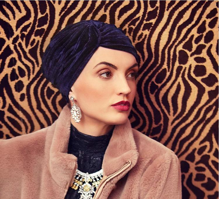 Mynd Christine - Pearl - Boho turban - Velvet - Dark bl